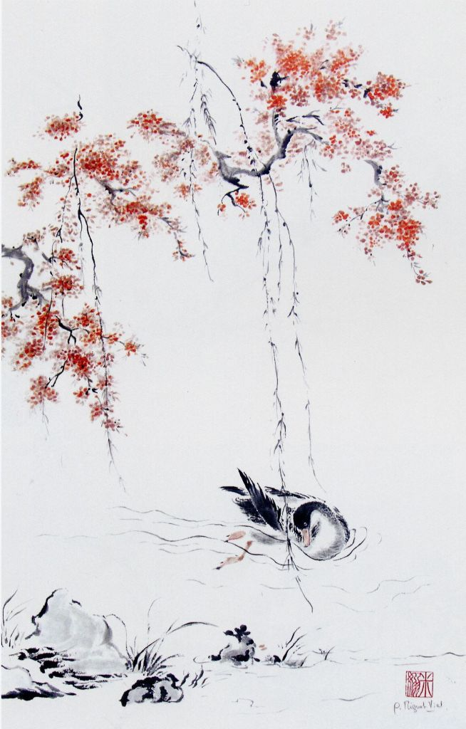 http://www.deanna-gao.com/images/Eleves/Gisele%20Mignot-Vial,%20Duck%20swinmming%20under%20the%20read%20blossom.jpg